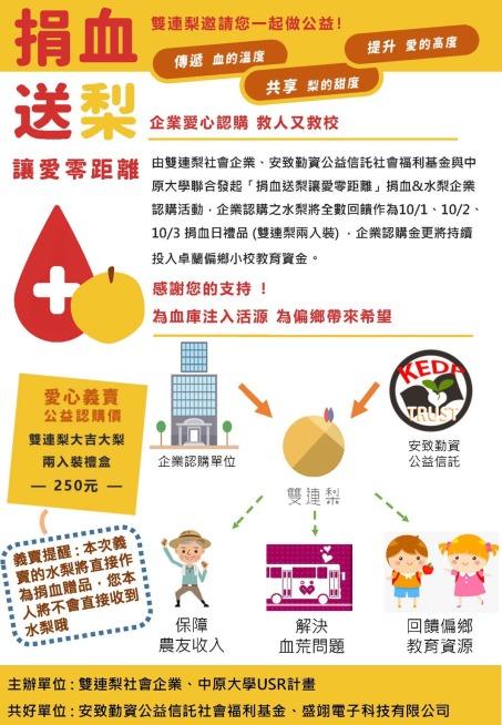 20191001~03-中原大學雙連梨捐血送梨活動